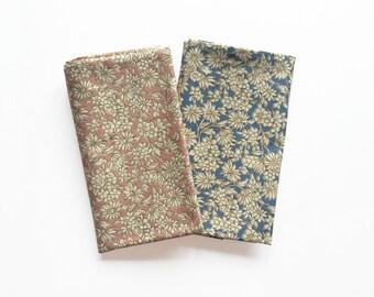 Bo - Vintage Pink/ Blue Floral Pocket Square