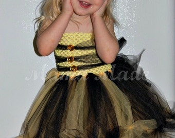 Bumble Bee Knotted Tutu Dress Bee Halloween Tutu Bumblebee Tutu Dress Bee Tutu dress, bee costume, bumblebee costume,bee tutu dress costume