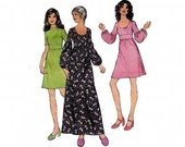 70s Midriff Panel Dress Vintage Sewing Pattern Style 3842 Size 14 Bust 36 inches