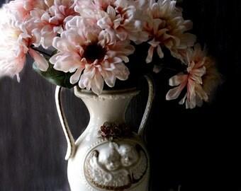 Vintage Art Deco Cherub Urn Vase. Victorian Style large ceramic Vase. Pink Porcelain Roses. Shabby Cottage Brocante Decor. Raphael Angels