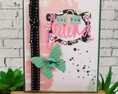 For You Friend Aqua Butterfly Pink Watercolor Splatter Handmade Card