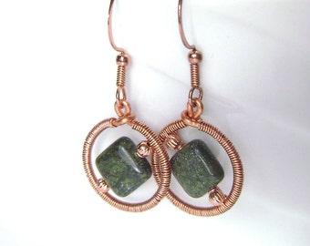 Geometric Earrings, Russian Serpentine, Copper Wire Wrapped, Circle Earrings, Forest Green, Autumn Jewelry, Handmade, 880
