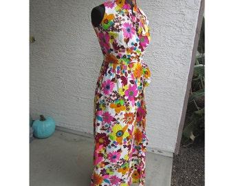 vintage barkcloth dress - Hawaiian Fashions by Sears - full length, maxi dress, ruffled collar, bark cloth dress