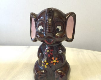 Cute china elephant, china elephant figurine, brown flowery kitsch elephant, ceramic elephant statue, kitsch elephant ornament