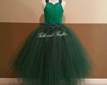 Hunter Green Flower Girl Corset Dress-Lace Halter Dress - Several Dress Colors Available- Size 1t, 2t, 3t, 4t, 5t, 6, 7, 8, 10 or 12