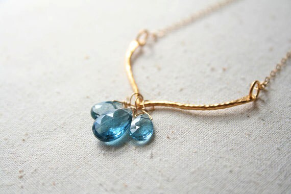 Blue Gemstone Necklace, Gemstone Jewelry, Chevron Necklace
