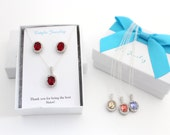 Red Swarovski Three Sisters Jewelry, 3 Sisters Necklace, 4 Sisters, Matching Sister Necklaces and Earrings Set Option, Sister in Law Gift