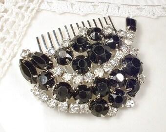 Black Rhinestone Wedding Hair Comb, 1950s 1960s Vintage Black & Clear Crystal Hairpiece OOAK Retro Bridal Accessory Head Piece Gothic