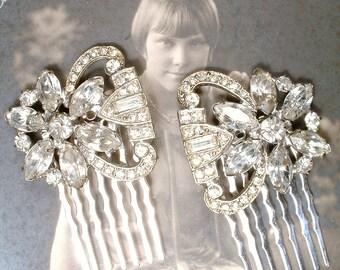 1920s Bridal Hair Comb PAIR, 2 Vintage Art Deco Crystal Rhinestone Silver Dress Clips Hair Accessory Small Antique Flapper Wedding Headpiece