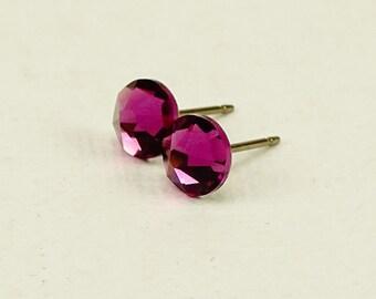 Amethyst Crystal Titanium Post Earrings, Purple Swarovski Studs on Titanium Posts for Sensitive Earlobes, Hypoallergenic Nickel Free Earings