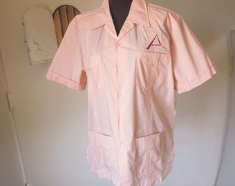 SALE...Vintage Guayabera Shirt, Pink Short Sleeve Shirt, 50's 60's Rockabilly Style, Men's Large, Chest 44