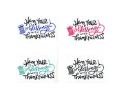 Shop Exclusive - Hem your blessings with thankfulness stickers - spool of thread and needle - handlettered | sewing stickers, stitching