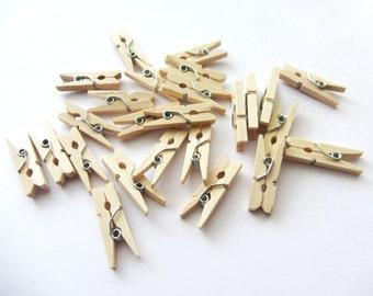 25 Mini Natural Wood Clothespins Natural Wood Mini Clothespin Mini Clothes Pins Wooden Mini Clothespins