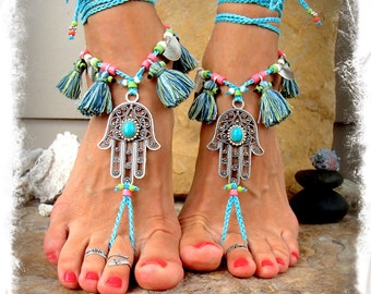 BLUE Delight Tassel HAMSA hand BAREFOOT sandals tribal belly Dance foot jewelry Wrap sandal Ethnic Wedding Hippie Boho Happy Toes GPyoga