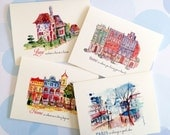 Greeting Card Set, City Cards, Home Cards, Note Cards, Set of 4