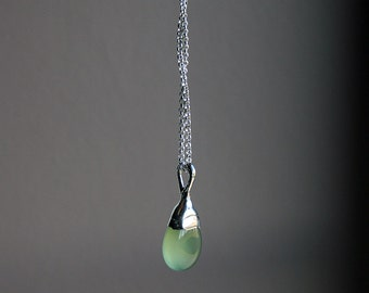light green chalcedony drop and sterling silver necklace