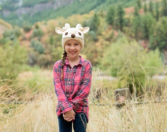 Crochet Pattern, Deer Hat Pattern - Instant Download