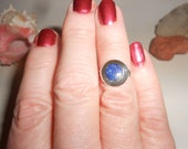 Lapis Ring Sterling Silver Round Inlaid Stone With Vintage New Age Panache Size 6