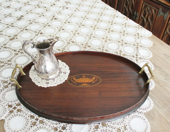 antique wood tray antique oval mahogany wood tray with inlay and brass handles 1302