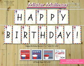 Mister Mailman Birthday Collection : Print at Home Post Office Party Decorations | Mail | DIY Printable | Digital Files - INSTANT DOWNLOAD