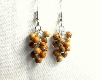 Natural Jasper Cluster Earrings - Bright Silver Plated Surgical Steel French Hooks SALE USA