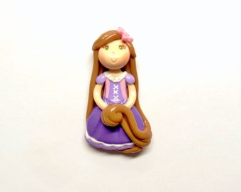 Princess Rapunzel - Pendant, Clay Charm, Bow Center, Brooch, Magnet, Ornament, Cold Porcelain Clay Rapunzel Figurine, Clay Character