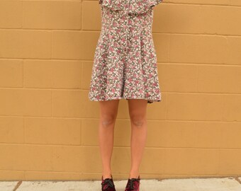 Vintage 90s Flower Romper with Oversized Ruffle Collar