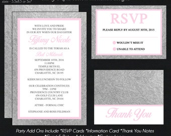 Bat Mitzvah Invitation - Pink and Silver Foil - Save the Date - Information Card - Reply Card - Thank You Notes - Envelope Addressing