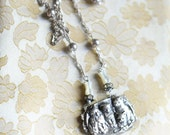 Ladies in Waiting ~ vintage assemblage cat necklace kitty mother of pearl tulip beads sterling silver chain one of a kind crowned by grace
