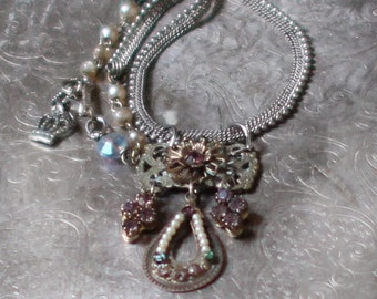 Abide~vintage assemblage necklace victorian amethyst rhinestones one of a kind crowned by grace