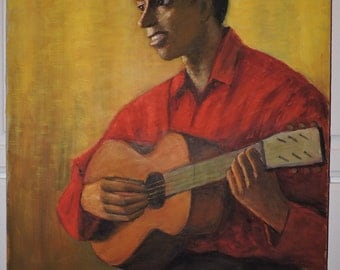Vintage Modernist BLACK MAN Playing GUITAR Red Calypso Shirt Signed Braun c1940s Painting