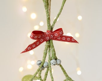 Christmas mistletoe decoration, scandi Christmas, wire work, jingle bells, kiss