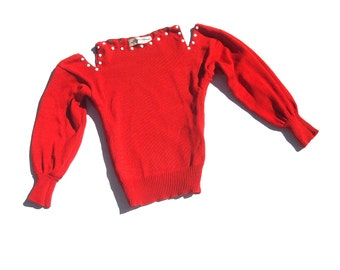 S cherry red knit 80s vintage boat neck puffy shoulders sleeves cut out off shoulder 1980s new wave kitsch embellished vintage sweater small