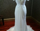 Chiffon Wedding Dress with beaded Lace sleeves READY TO SHIP