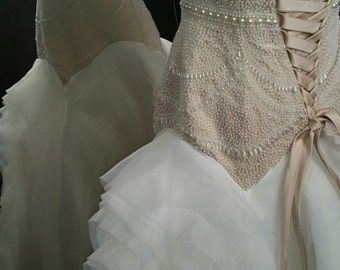 Gorgeous Cream Wedding Dress with Ivory Hand Beading Sweetheart Neckline