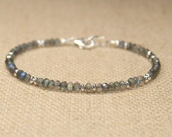 Labradorite Bracelet, Labradorite Jewelry, Sterling Silver, Blue Flash, Beaded, Layering Bracelet, Gemstone Jewelry