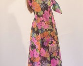 Floral maxi Dress with pussy bow