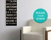 MAKE YOUR OWN Custom Sign, Personalized Subway Art, Canvas Bus Scroll, Word Art Print, Tram Roll, Rustic Industrial Décor. 12 x 36