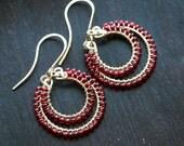 Red beaded dangle hoops, seed bead drop earrings, Czech glass, 14k gold filled, wire wrapped hoop, dangle hoop, Mimi Michele Jewelry