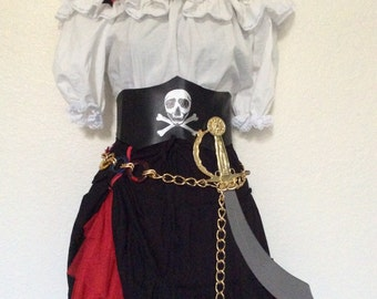 OVERNIGHT SHIPPING Black & White Pirate Halloween Costume - Jolly Roger - xs Extra Small