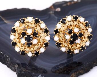 VINTAGE ROUND EARRINGS Retro Estate Jewelry 1970s Clip On Gold Tone Round Classic Pin Up White Black Rhinestone Milk Glass