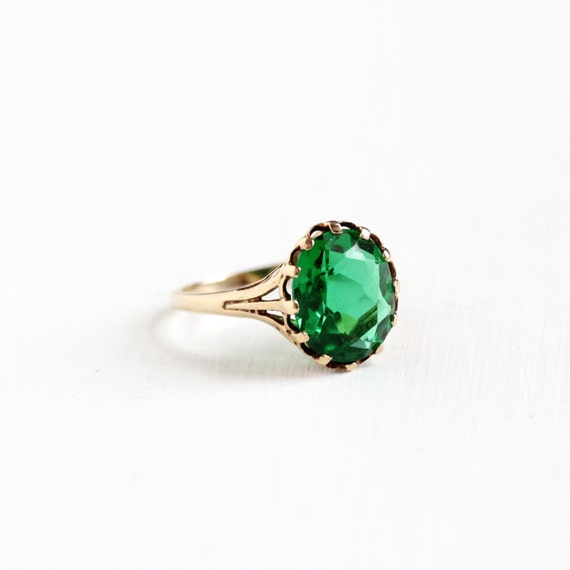 vintage 10k gold simulated emerald ring mid century