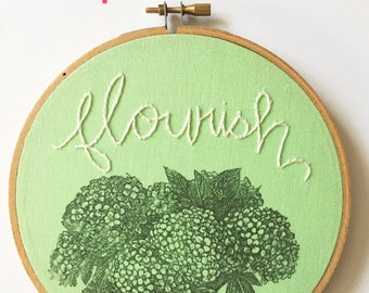Vintage Flower Art. Embroidery Hoop Art. Hand Embroidery. Mint Green Room Decor. Stitched Text Flourish. Vintage Blooms. Textile Wall Art