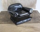 vintage Donghia black ceramic chair, trinket box, jewelry box