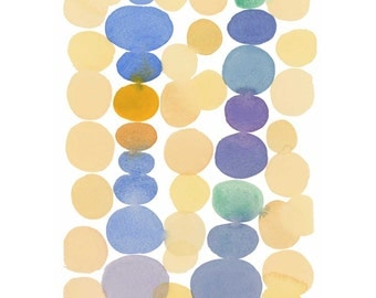 Dots Watercolor Painting - Minimal Abstract painting - Yellow blue dots painting - Modern Wall Art