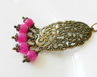 Cerise necklace, fuchsia jewelry, vintage style jewelry, bronze large pendant, for her, Europe