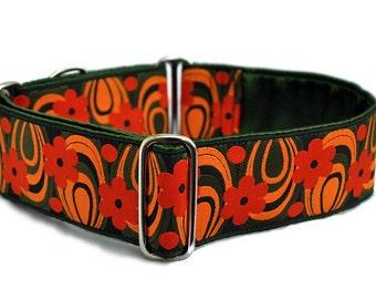 Martingale Collar or Buckle Dog Collar - Woodstock Haze Jacquard in Green & Orange - 2 Inch, Greyhound Collar, Custom Dog Collar