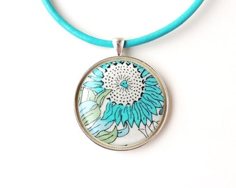 Blue Flower Pendant on Leather Necklace, Liberty Material Resin Pendant, Statement Necklace, Resin Jewelry, Flower Jewellery, UK (1375)
