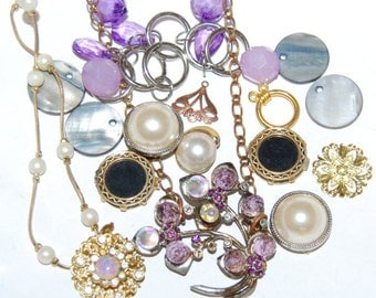 Vintage Pastel Jewelry Lot Destash Necklaces Beads AB Flowers