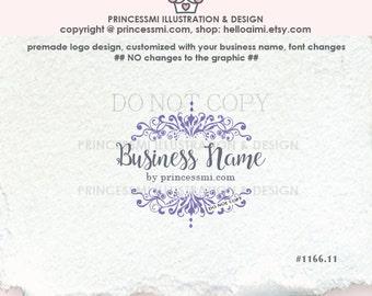 1166-11  Damask logo, vintage boutique logo, Scrolls logo,  photography logo, business , boutique watermark by princessmi